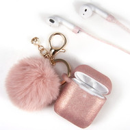 Silicone Protective Case with Anti-Lost Strap and Faux Fur Pom Pom Keychain for Apple AirPods - Rose Gold
