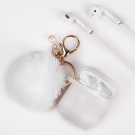 *Sale* Silicone Protective Case with Anti-Lost Strap and Faux Fur Pom Pom Keychain for Apple AirPods - White