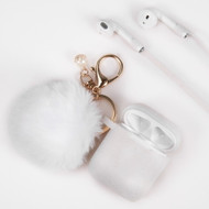 Silicone Protective Case with Anti-Lost Strap and Faux Fur Pom Pom Keychain for Apple AirPods - White
