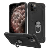 Finger Loop Armor Hybrid Case with 360° Rotating Ring Holder Kickstand for iPhone 11 Pro Max - Black