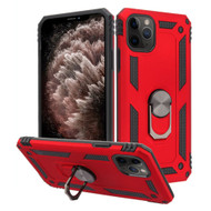 Finger Loop Armor Hybrid Case with 360° Rotating Ring Holder Kickstand for iPhone 11 Pro Max - Red