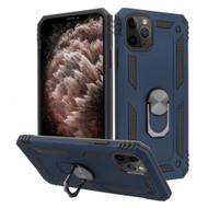 Finger Loop Armor Hybrid Case with 360° Rotating Ring Holder Kickstand for iPhone 11 Pro Max - Navy Blue