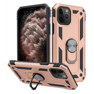 Finger Loop Armor Hybrid Case with 360° Rotating Ring Holder Kickstand for iPhone 11 Pro Max - Rose Gold