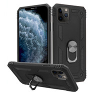 Finger Loop Armor Hybrid Case with 360° Rotating Ring Holder Kickstand for iPhone 11 Pro - Black