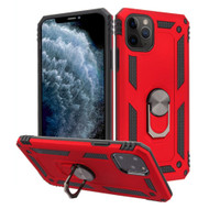 Finger Loop Armor Hybrid Case with 360° Rotating Ring Holder Kickstand for iPhone 11 Pro - Red
