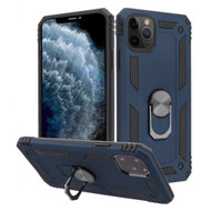 Finger Loop Armor Hybrid Case with 360° Rotating Ring Holder Kickstand for iPhone 11 Pro - Navy Blue