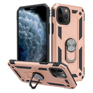 Finger Loop Armor Hybrid Case with 360° Rotating Ring Holder Kickstand for iPhone 11 Pro - Rose Gold