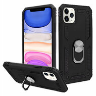 Finger Loop Armor Hybrid Case with 360° Rotating Ring Holder Kickstand for iPhone 11 - Black
