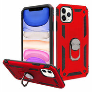 Finger Loop Armor Hybrid Case with 360° Rotating Ring Holder Kickstand for iPhone 11 - Red