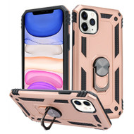 Finger Loop Armor Hybrid Case with 360° Rotating Ring Holder Kickstand for iPhone 11 - Rose Gold