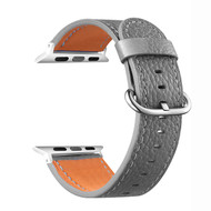 Textured Epsom Genuine Cowhide Leather Watch Band for Apple Watch 44mm / 42mm - Grey