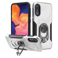Multifunctional Hybrid Case with 360° Bottle Opener Rotating Ring Holder Kickstand for Samsung Galaxy A10e - Silver