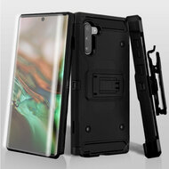 3-IN-1 Kinetic Hybrid Armor Case with Holster and Screen Protector for Samsung Galaxy Note 10 - Black
