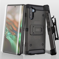 *Sale* 3-IN-1 Kinetic Hybrid Armor Case with Holster and Screen Protector for Samsung Galaxy Note 10 - Dark Grey