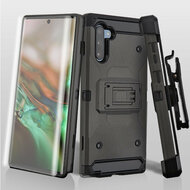 3-IN-1 Kinetic Hybrid Armor Case with Holster and Screen Protector for Samsung Galaxy Note 10 - Dark Grey