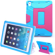 *Sale* Kids Friendly Shock Proof Case with Smart Cover Kickstand for iPad 9.7 (2018/2017) / iPad Air 2 - Hot Pink Blue