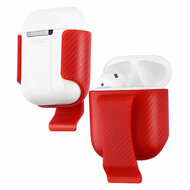 Belt Clip Holster with Carbon Fiber Accents for Apple AirPods - Red