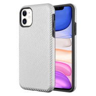 Carbon Fiber Hybrid Case for iPhone 11 - Silver