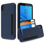 *SALE* Poket Credit Card Hybrid Armor Case for Motorola Moto E6 - Navy Blue
