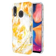 TUFF Subs Hybrid Armor Case for Samsung Galaxy A20 - Marble Orange Grey
