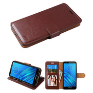 Element Series Book-Style Leather Folio Case for Motorola Moto E6 - Brown