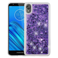 Quicksand Glitter Transparent Case for Motorola Moto E6 - Purple