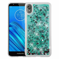 Quicksand Glitter Transparent Case for Motorola Moto E6 - Green