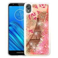 Quicksand Glitter Transparent Case for Motorola Moto E6 - Eiffel Tower