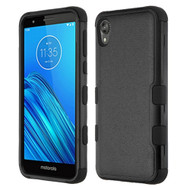 Military Grade Certified TUFF Hybrid Armor Case for Motorola Moto E6 - Black
