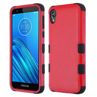 Military Grade Certified TUFF Hybrid Armor Case for Motorola Moto E6 - Red