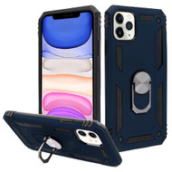 Finger Loop Armor Hybrid Case with 360° Rotating Ring Holder Kickstand for iPhone 11 - Navy Blue