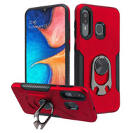 Multifunctional Hybrid Case with 360° Bottle Opener Rotating Ring Holder Kickstand for Samsung Galaxy A50 / A20 - Red