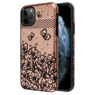 Fuse Slim Armor Hybrid Case for iPhone 11 Pro - Lace Flowers Rose Gold