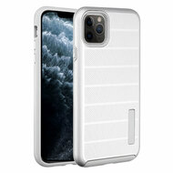 Haptic Dots Texture Anti-Slip Hybrid Armor Case for iPhone 11 Pro - Silver