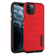 Haptic Dots Texture Anti-Slip Hybrid Armor Case for iPhone 11 Pro - Red