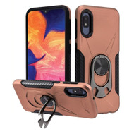 Multifunctional Hybrid Case with 360° Bottle Opener Rotating Ring Holder Kickstand for Samsung Galaxy A10e - Rose Gold
