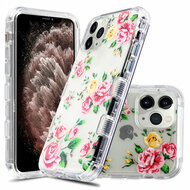 Military Grade Certified TUFF Lucid Transparent Hybrid Armor Case for iPhone 11 Pro Max - Pink Roses