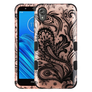 Military Grade Certified TUFF Hybrid Armor Case for Motorola Moto E6 - Phoenix Flower Rose Gold