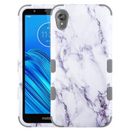 Military Grade Certified TUFF Hybrid Armor Case for Motorola Moto E6 - Marble White