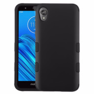 Military Grade Certified TUFF Hybrid Armor Case for Motorola Moto E6 - Black 001