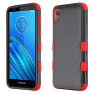 Military Grade Certified TUFF Hybrid Armor Case for Motorola Moto E6 - Black Red