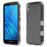 Military Grade Certified TUFF Hybrid Armor Case for Motorola Moto E6 - Black Grey