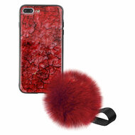 Liquid Glass Finish Pomzie Hybrid Case with Faux Fur Pom Pom Hand Strap for iPhone 8 Plus / 7 Plus - Ruby Red