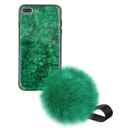 Liquid Glass Finish Pomzie Hybrid Case with Faux Fur Pom Pom Hand Strap for iPhone 8 Plus / 7 Plus - Emerald Green