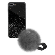 Liquid Glass Finish Pomzie Hybrid Case with Faux Fur Pom Pom Hand Strap for iPhone 8 Plus / 7 Plus - Black Glitter