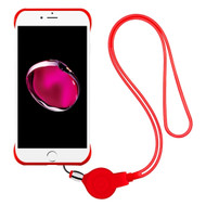 Slim Frosty Semi Transparent Fusion Case with Lanyard for iPhone 8 Plus / 7 Plus - Red