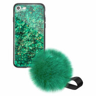 Liquid Glass Finish Pomzie Hybrid Case with Faux Fur Pom Pom Hand Strap for iPhone 8 / 7 - Emerald Green
