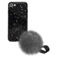 Liquid Glass Finish Pomzie Hybrid Case with Faux Fur Pom Pom Hand Strap for iPhone 8 / 7 - Black Glitter