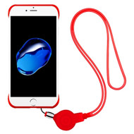 Slim Frosty Semi Transparent Fusion Case with Lanyard for iPhone 8 / 7 - Red