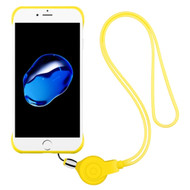 Slim Frosty Semi Transparent Fusion Case with Lanyard for iPhone 8 / 7 - Yellow